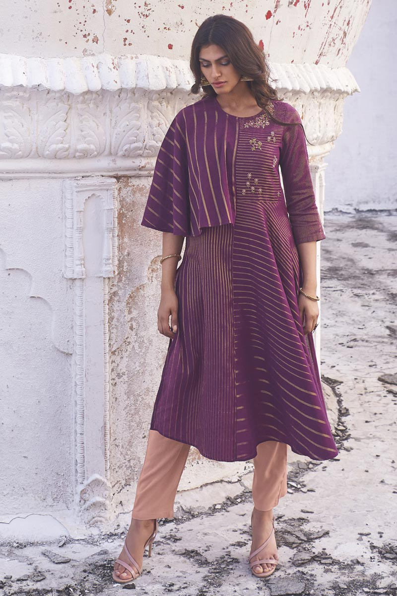 Purple Color Function Wear Embroidered Designer Linen Cotton Fabric Kurti With Bottom