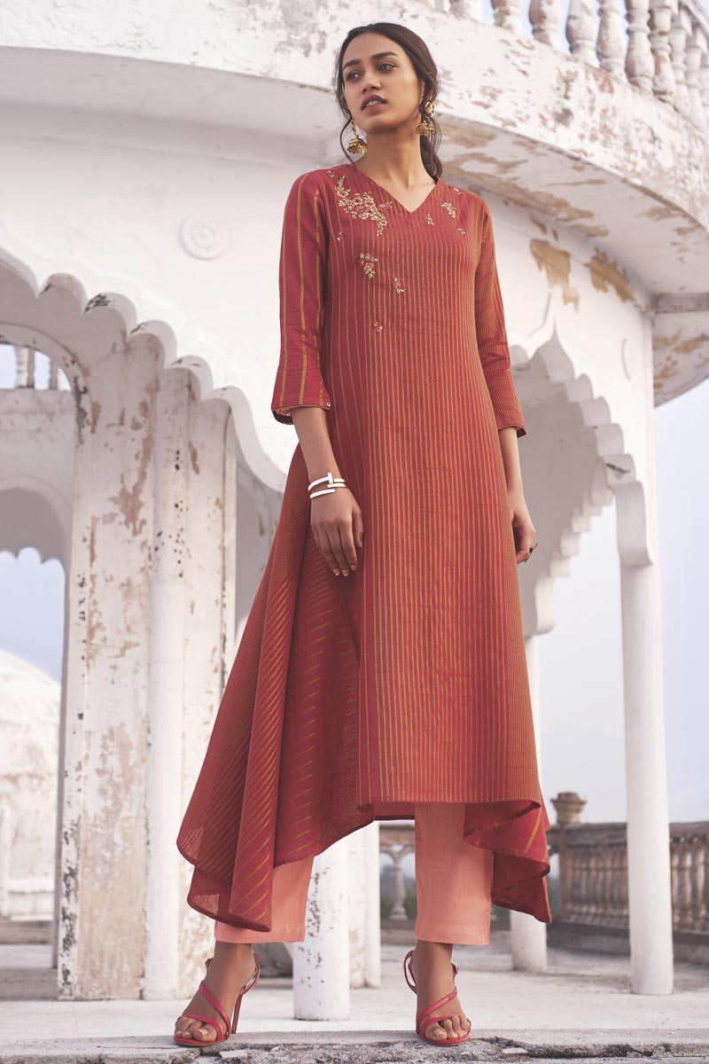 Red Color Linen Cotton Fabric Function Wear Embroidered Designer Kurti With Bottom