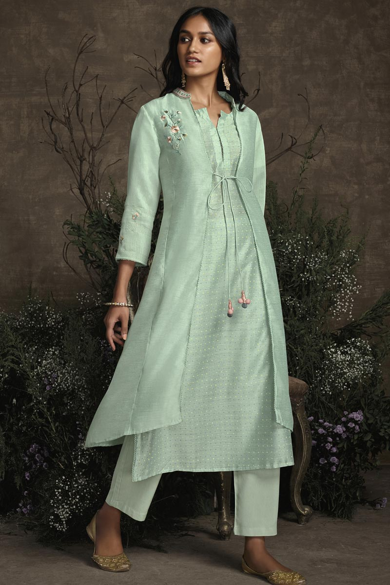 Function Wear Sea Green Color Art Silk Fabric Embroidered Designer Kurti With Bottom