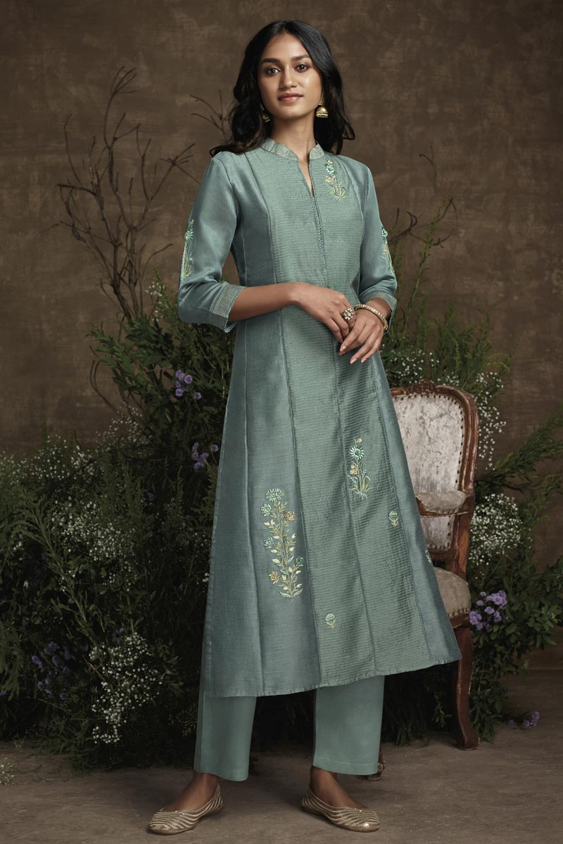 Grey Color Art Silk Fabric Function Wear Embroidered Designer Kurti With Bottom