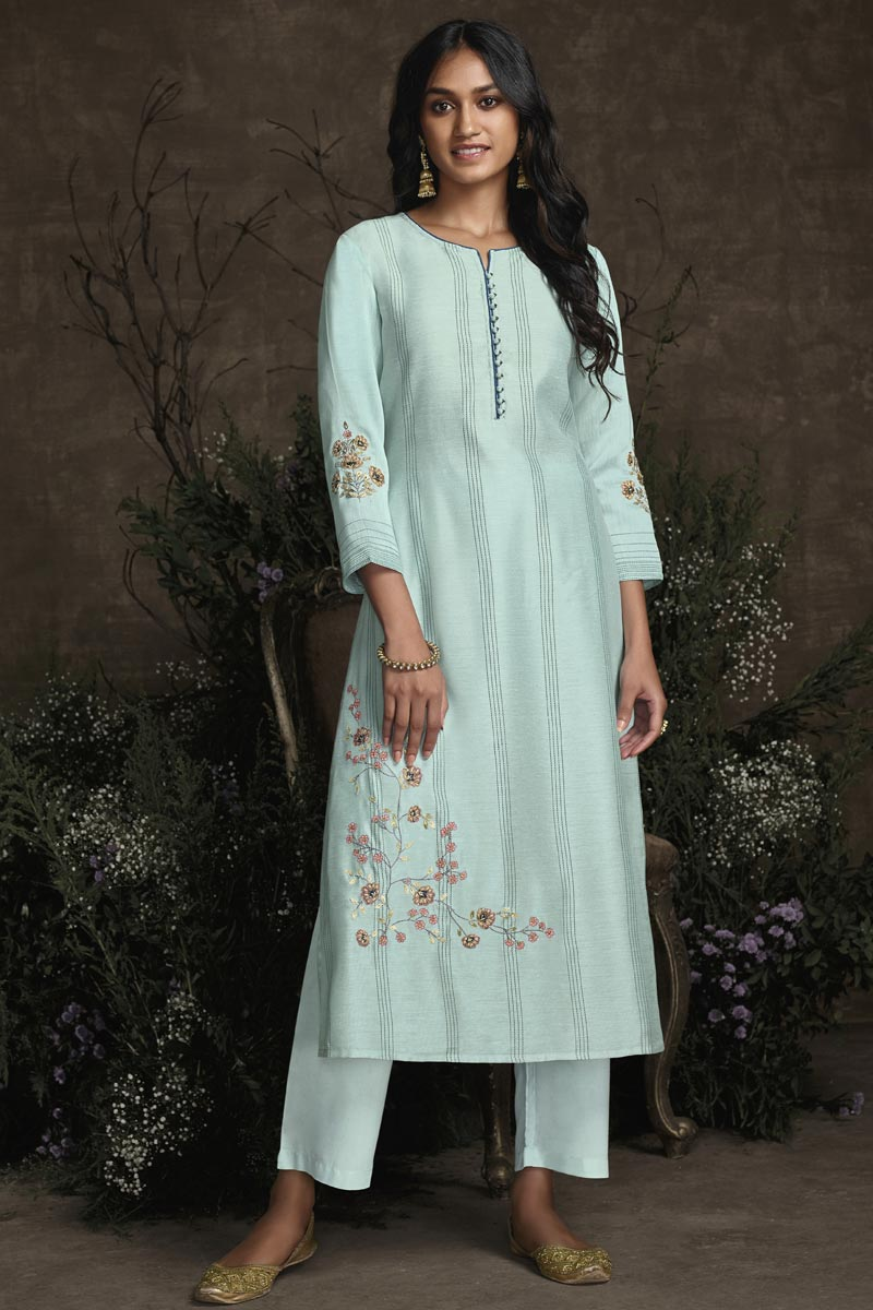 Art Silk Fabric Function Wear Cyan Color Embroidered Designer Kurti With Bottom