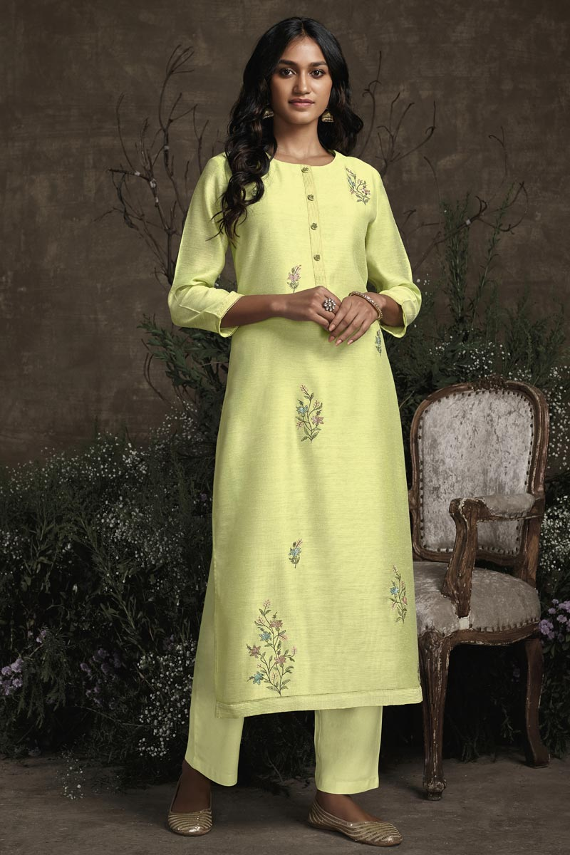 Yellow Color Function Wear Embroidered Designer Kurti With Bottom In Art Silk Fabric