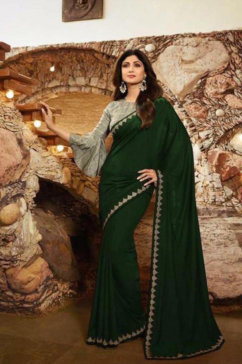 Shilpa Shetty Georgette Fabric Party Style Designer Saree In Dark Green Color