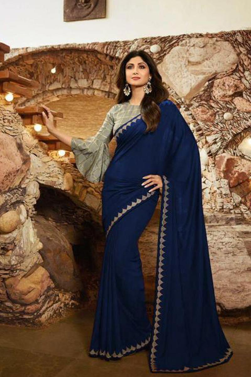 Shilpa Shetty Navy Blue Color Georgette Fabric Party Style Designer Saree