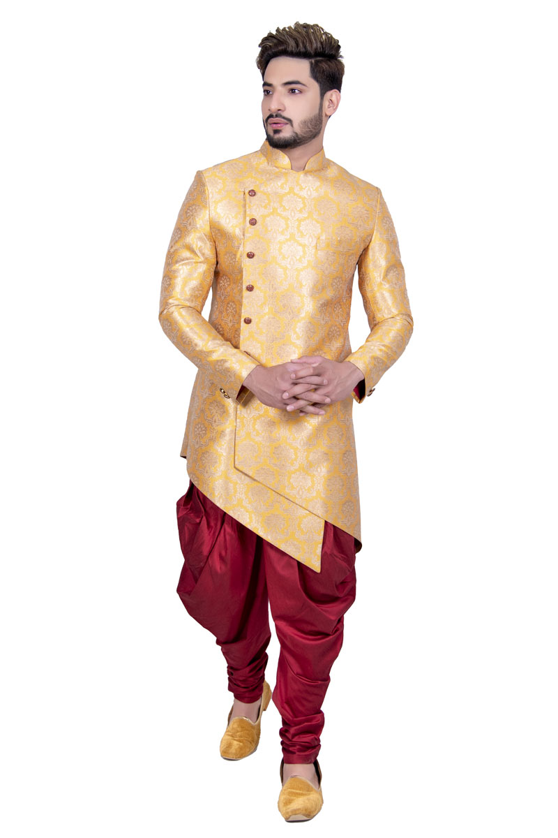 Yellow Color Silk Fabric Mens Function Wear Readymade Indowestern