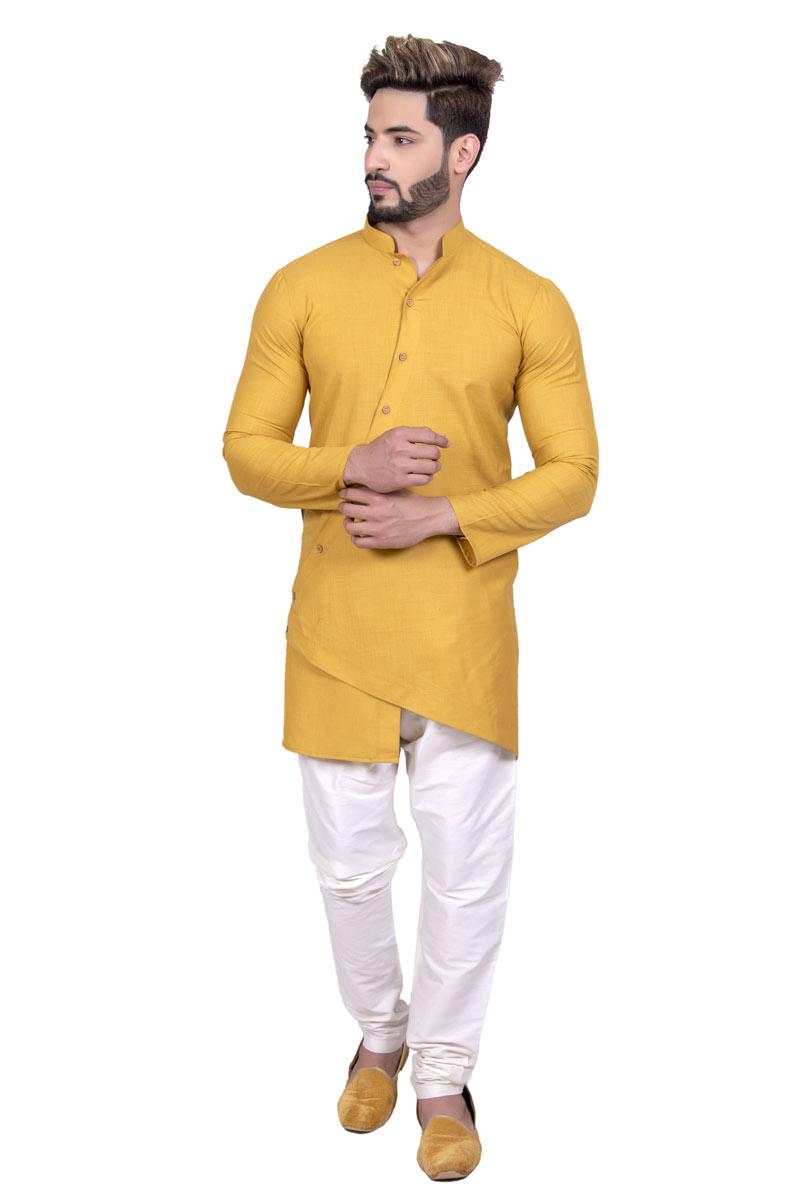 Mustard Color Cotton Fabric Occasion Wear Kurta Pyjama For Men