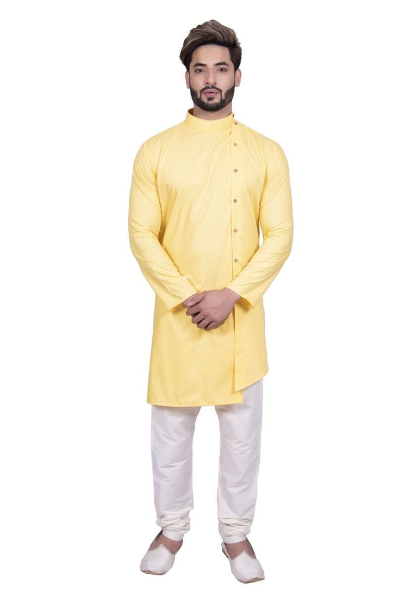 Cotton Fabric Occasion Wear Yellow Kurta Pyjama For Men