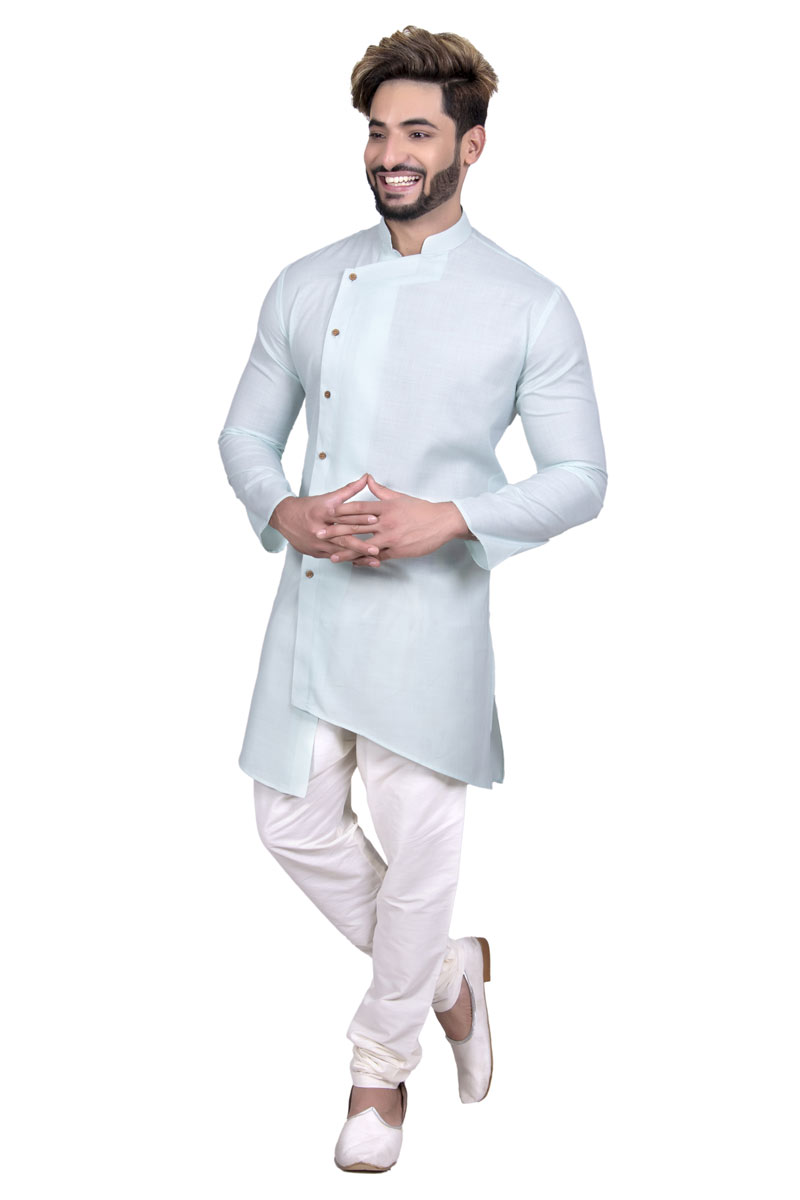 Light Cyan Color Cotton Fabric Designer Mens Ethnic Kurta