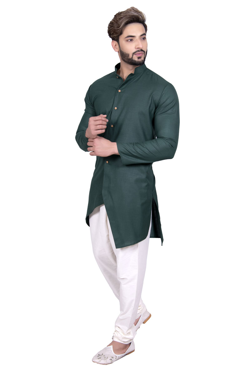 Designer Kurta For Men In Cotton Fabric Teal Color