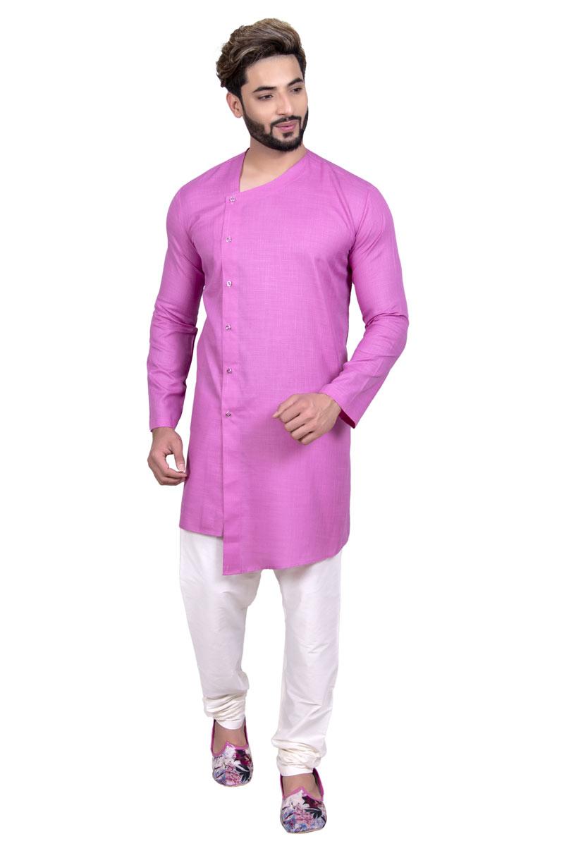 Pink Color Cotton Fabric Occasion Wear Mens Ethnic Kurta