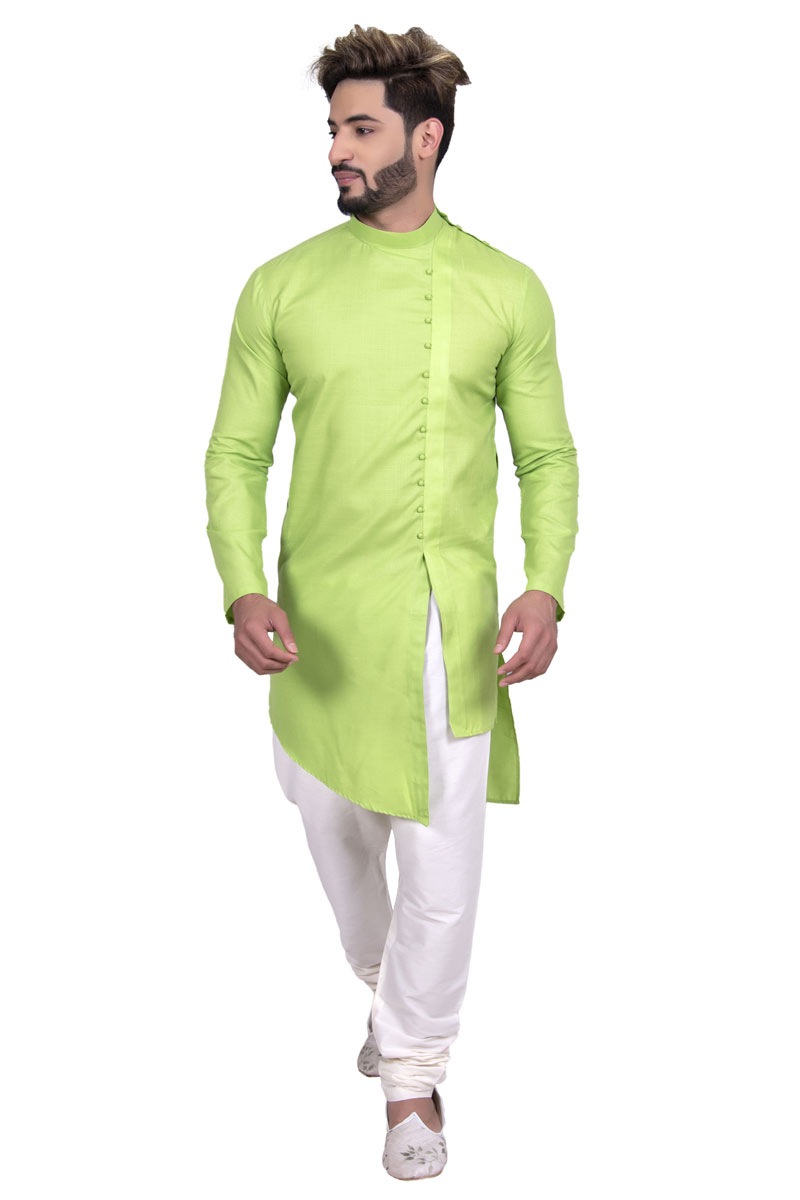 Green Color Cotton Fabric Festive Wear Kurta Pyjama Set For Men