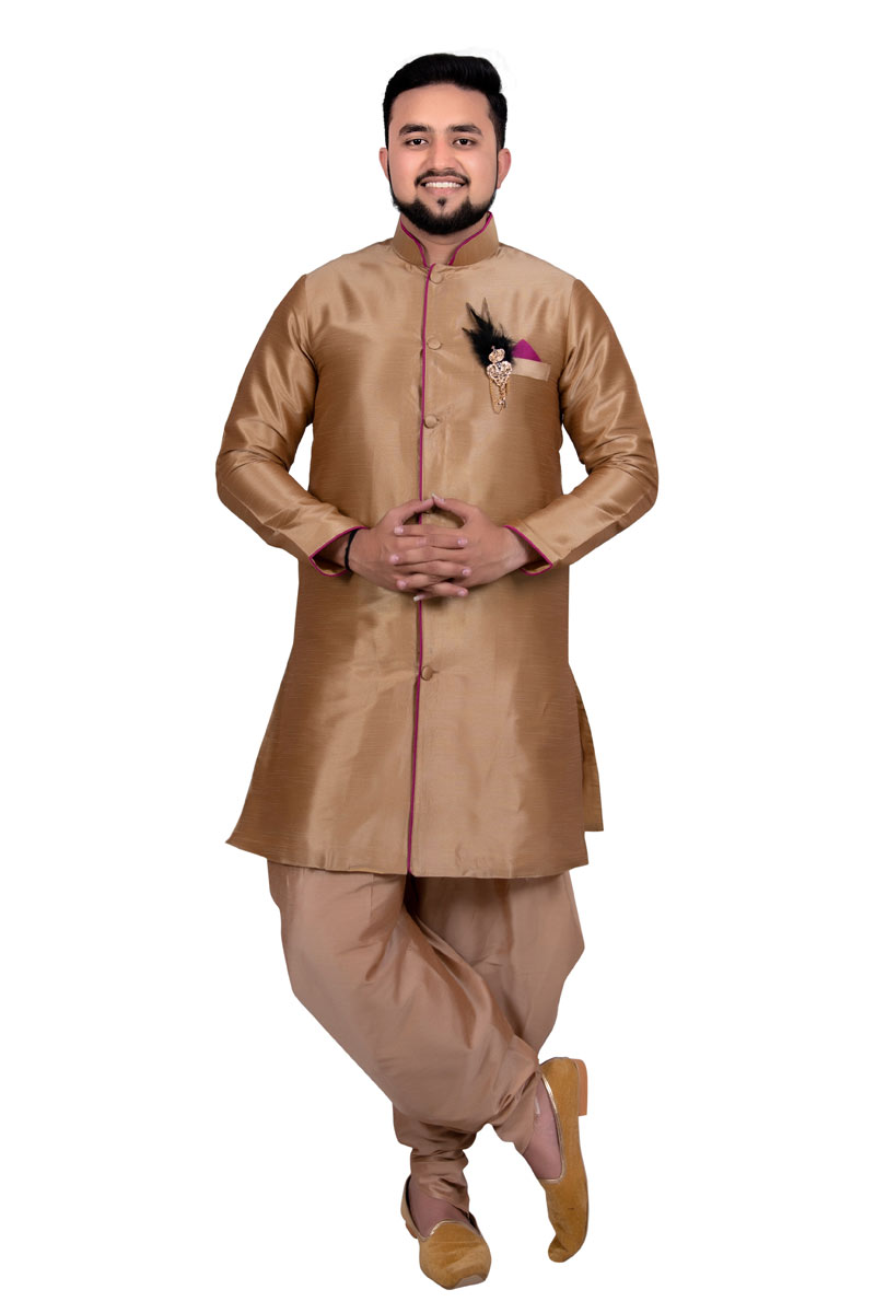 Light Brown Color Art Silk Fabric Wedding Wear Readymade Indowestern For Men