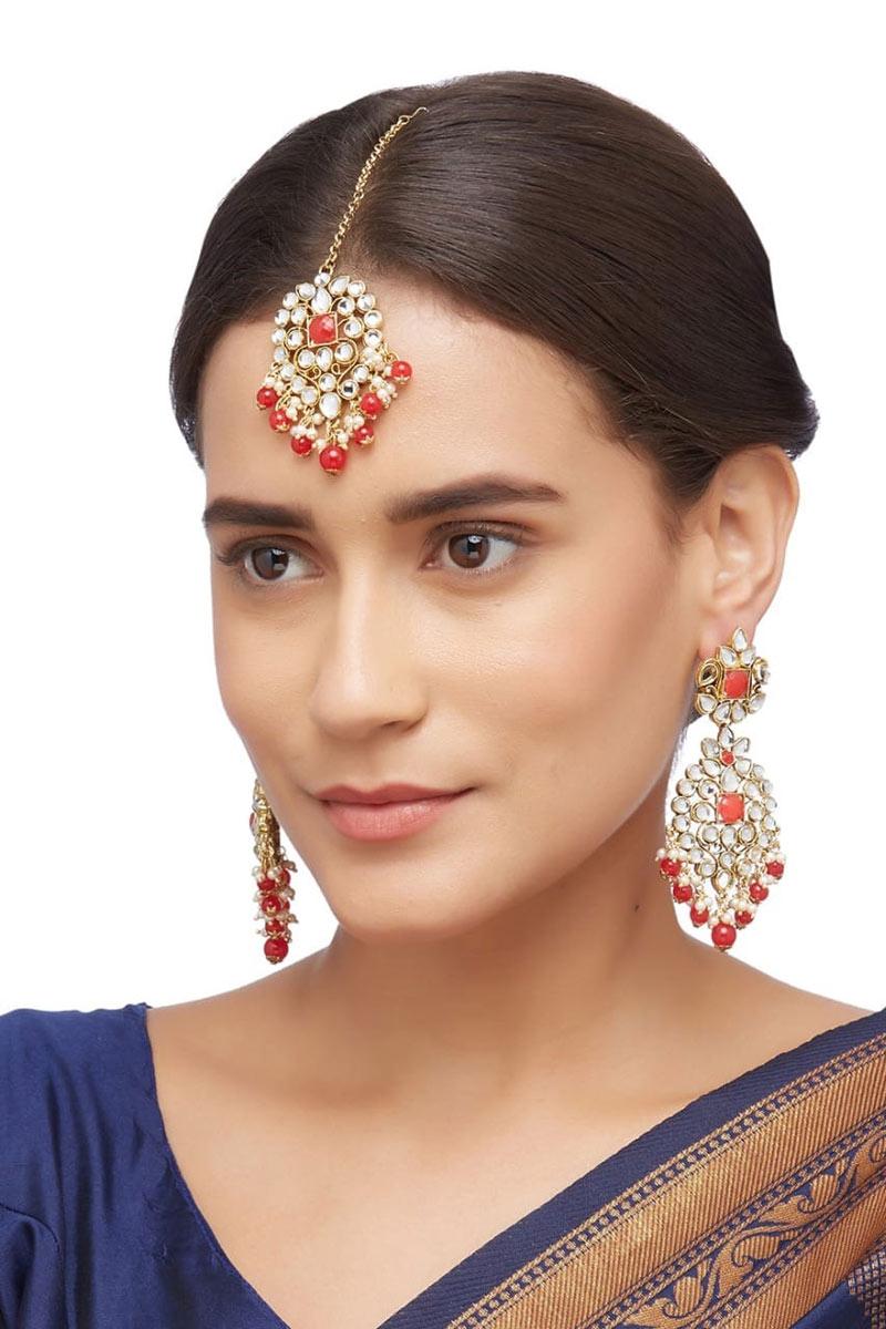 Fancy Alloy Metal Earrings With Maang Tikka In Red Color