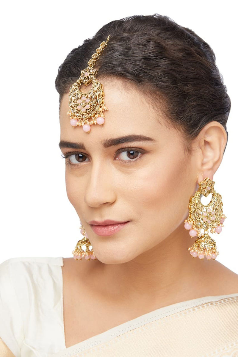 Fancy Pink Color Alloy Material Imitation Earrings With Maang Tikka