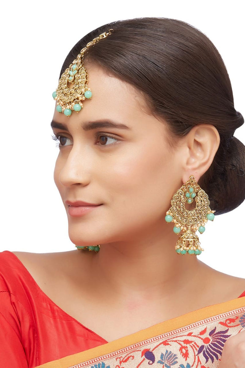 Artificial Sea Green Color Alloy Material Earrings With Maang Tikka