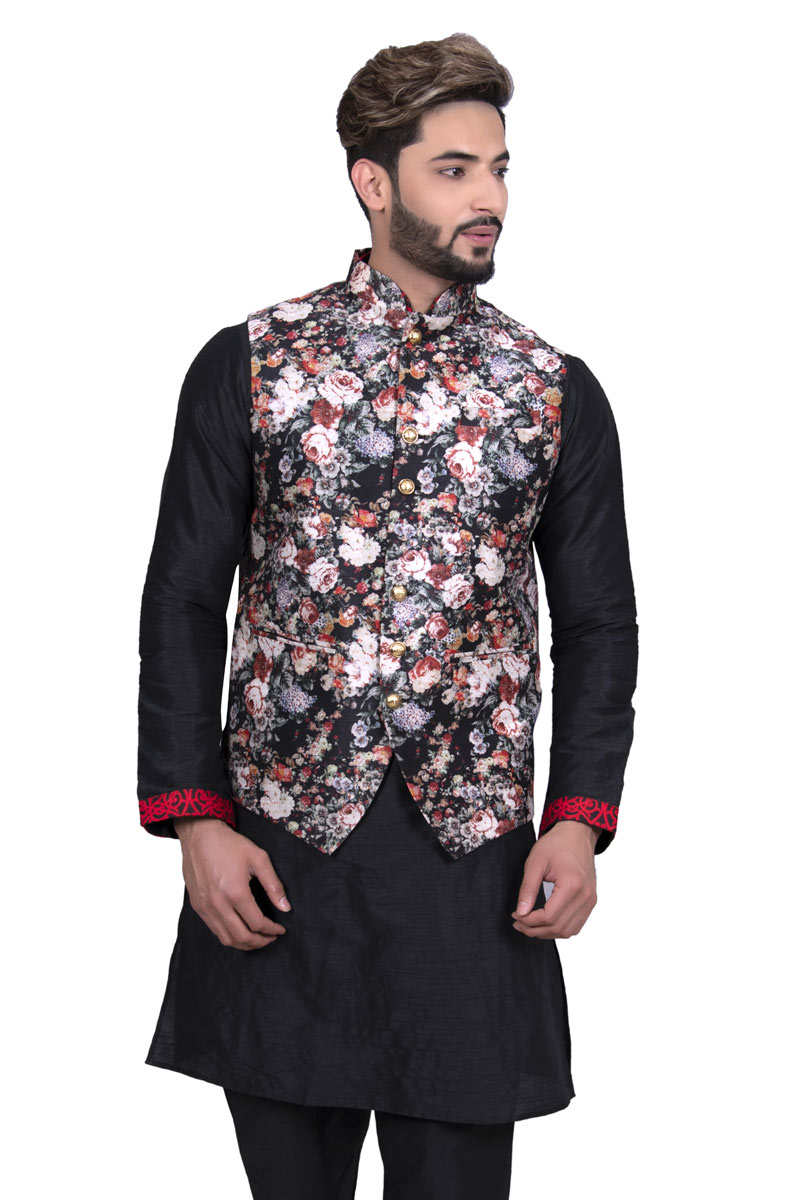 Black Color Occasion Wear Silk Fabric Stylish Jacket For Men