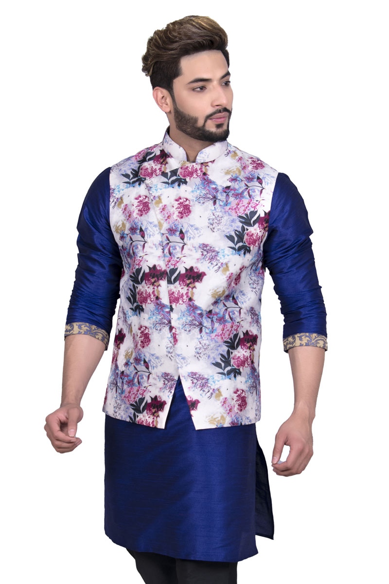Designer Jacket For Men In White Color Silk Fabric