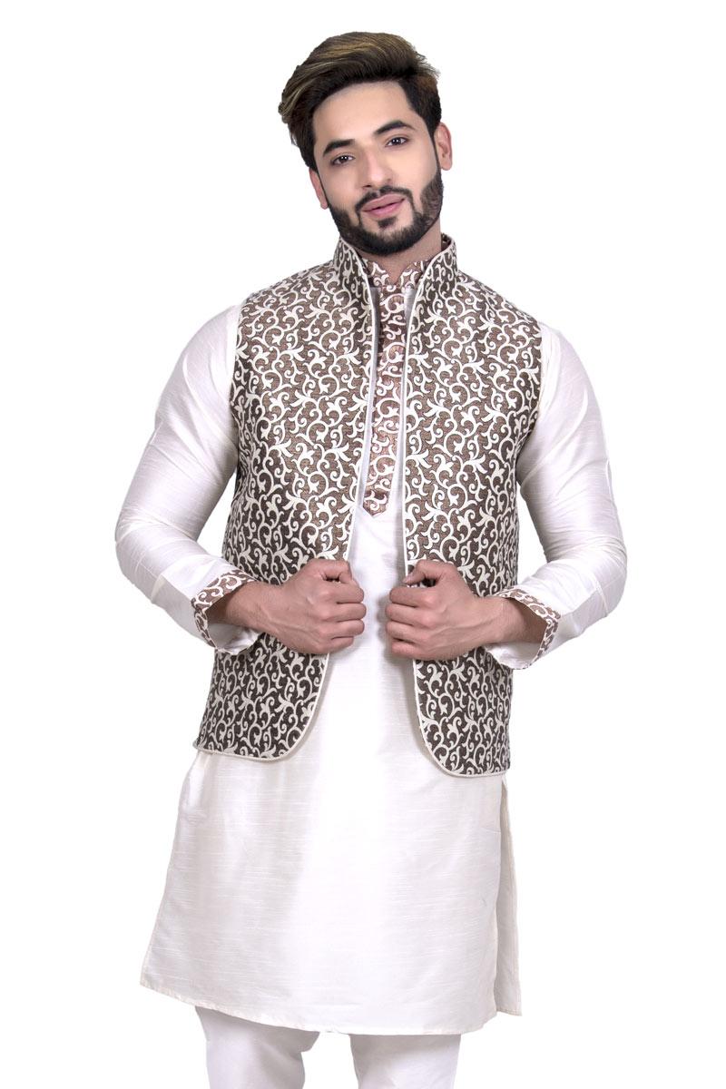 Designer Jacket In Brown Color Silk Fabric