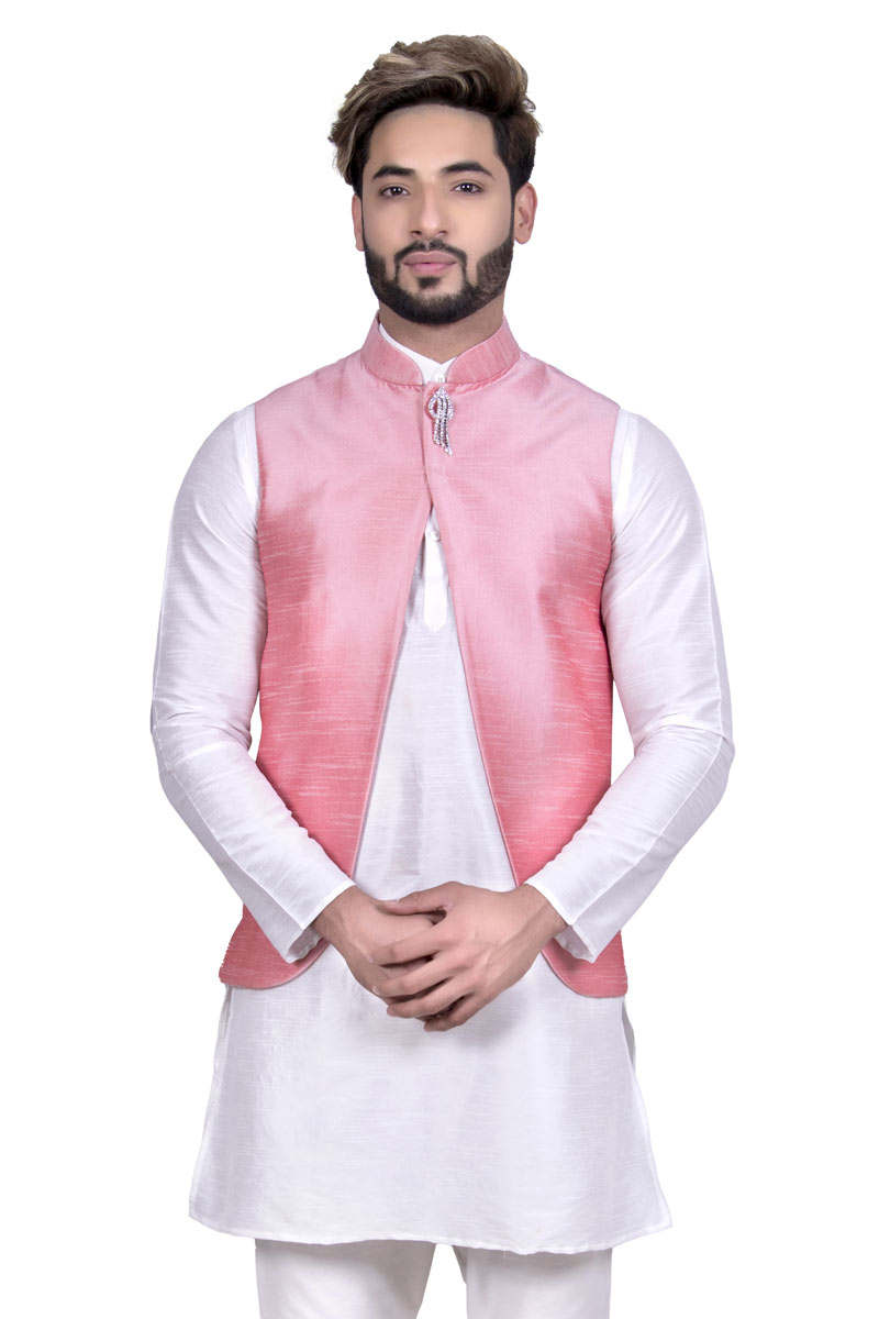 Pink Color Party Wear Art Silk Fabric Ethnic Fancy Jacket For Men