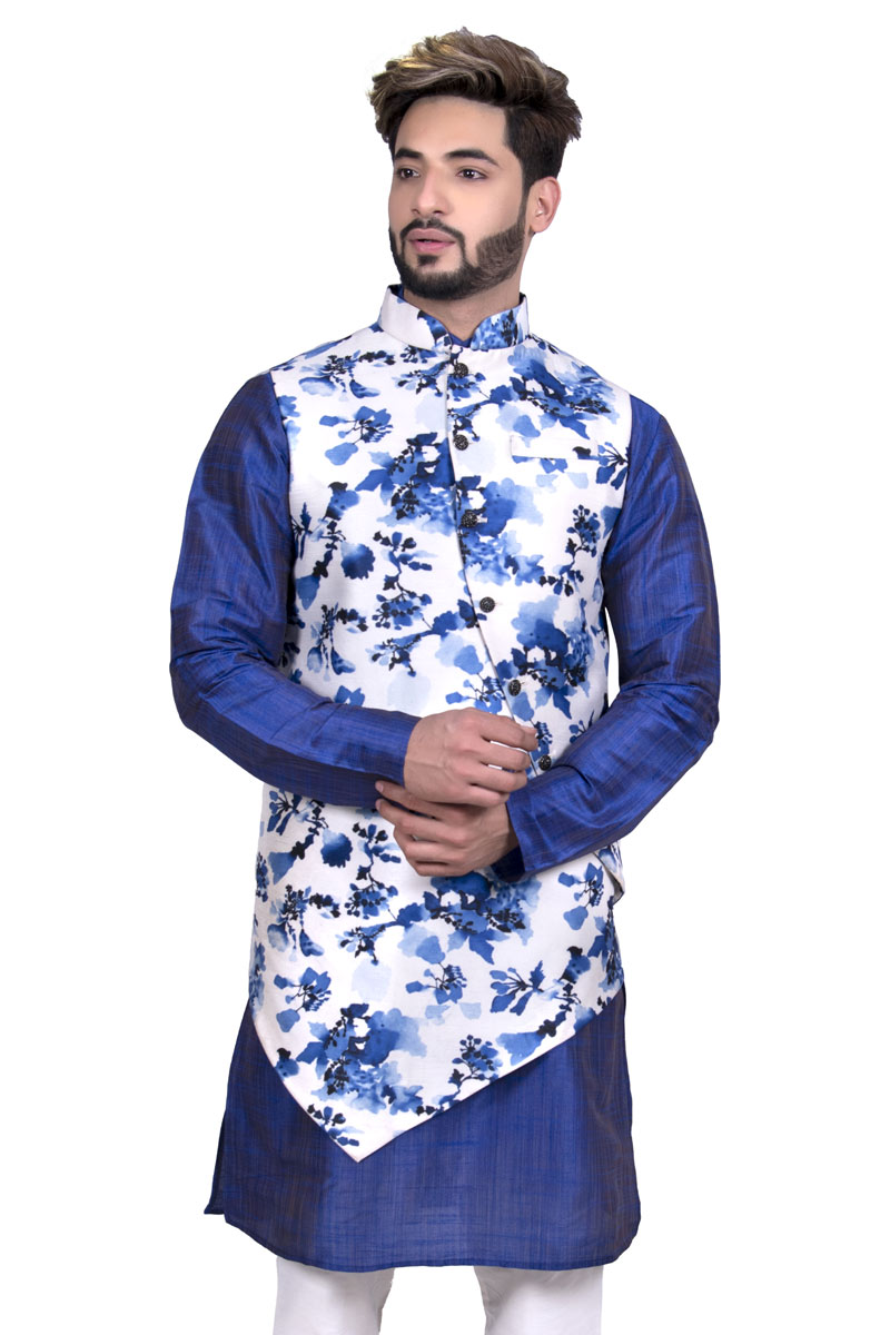Designer Mens Jacket In White Color Silk Fabric