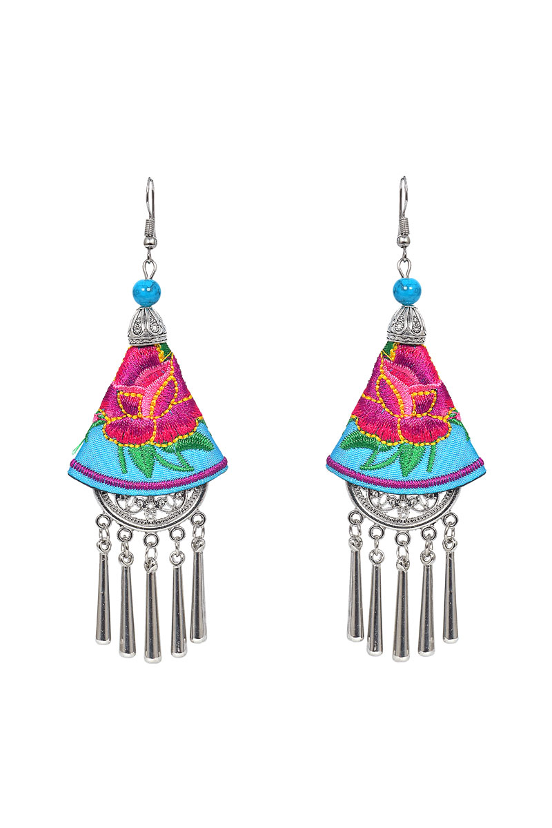 Pink And Cyan Color Handcraft Earrings For Women