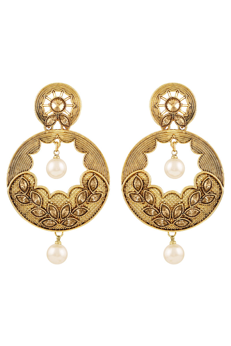 Gorgeous Round Shape Golden Plated Earrings For Women