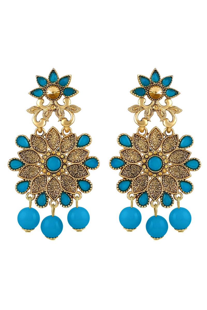 Sky Blue Color Flower Design Gold Plated Earrings For Women