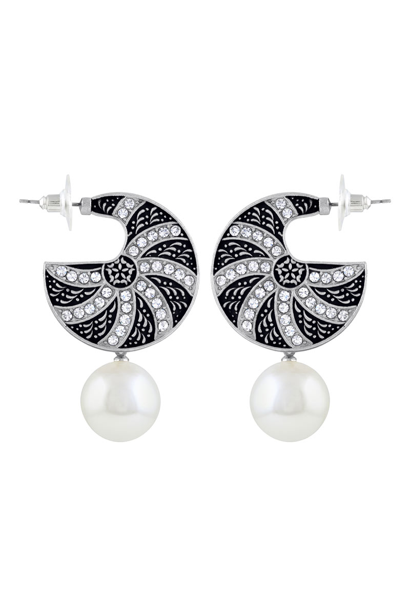 Royal Round Oxidized Silver Plated Drop Earring For Women
