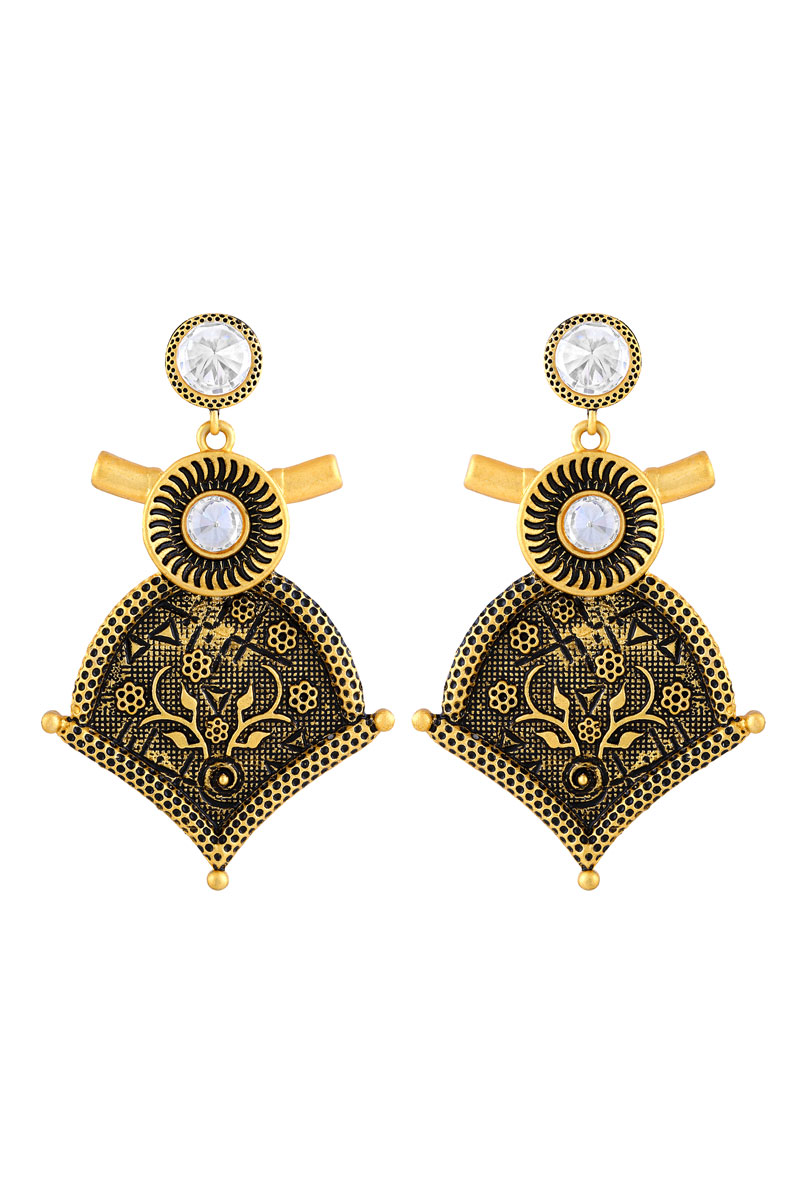 Black Color Gold Plated Oxidized Drop Earring For Women
