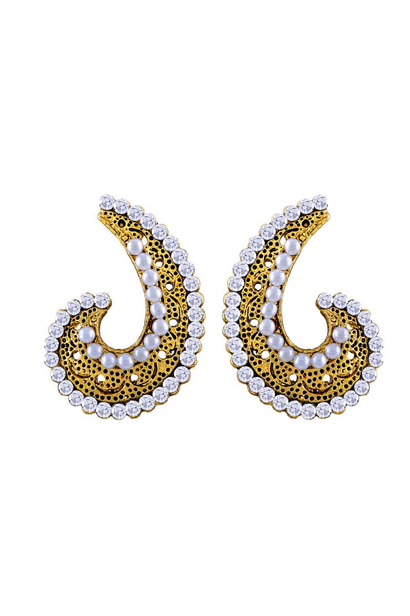 Daily Wear Golden Plated Oxidized Stud Earring For Women