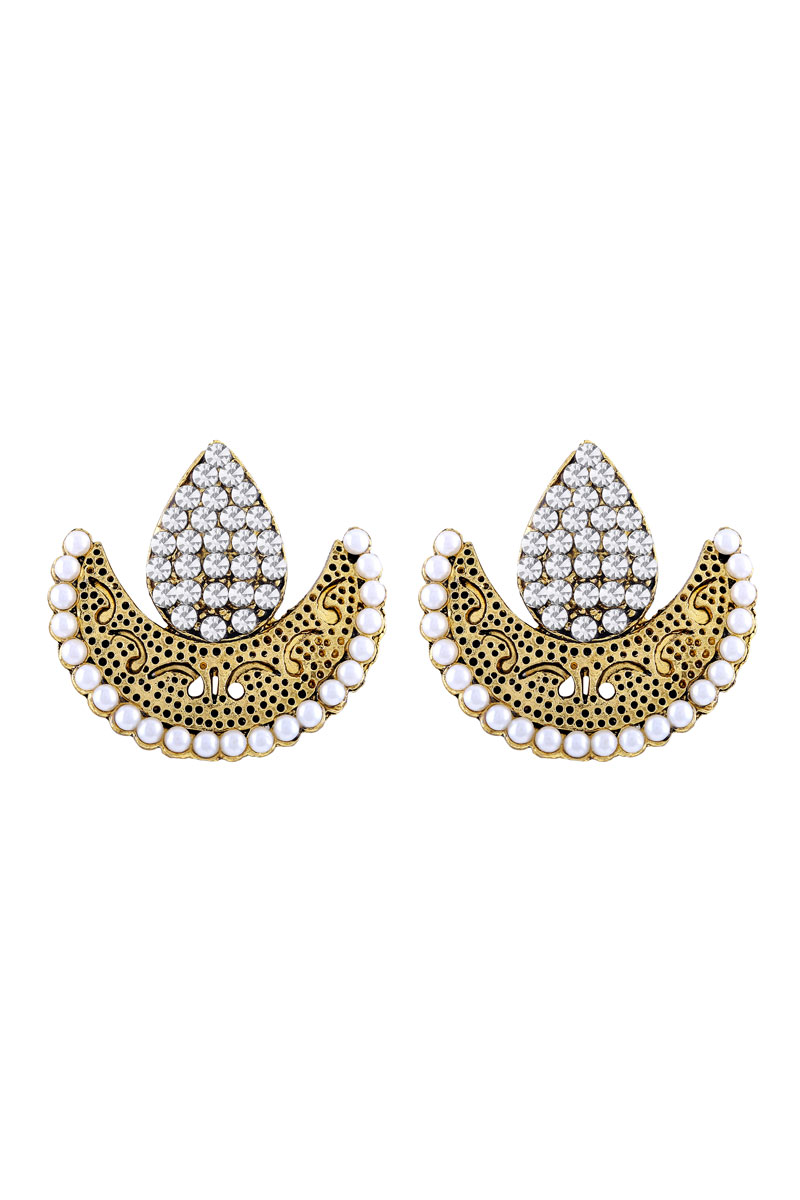 Chandbali Golden Plated Stud Earring For Women