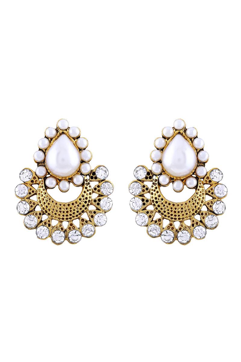 Chandbali Golden Plated Oxidized Dangler Earring For Women