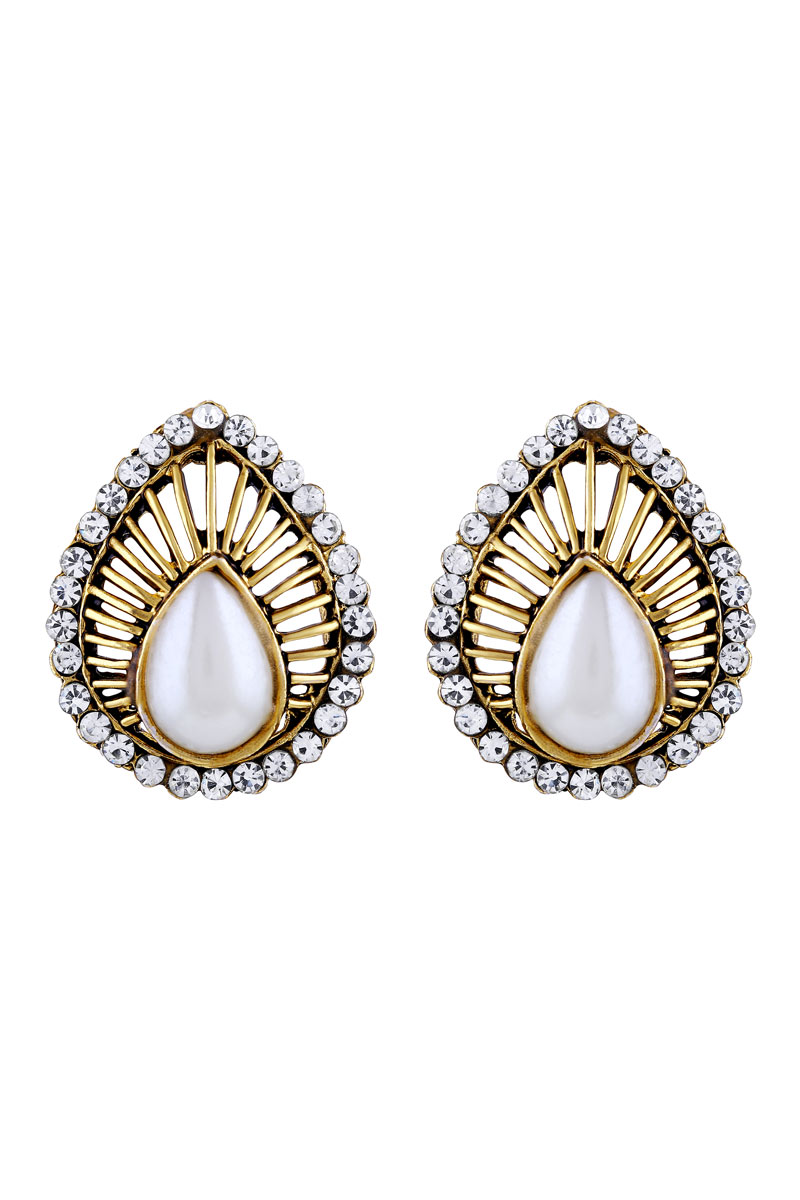 Oxidized Golden Plated Stud Earring For Women