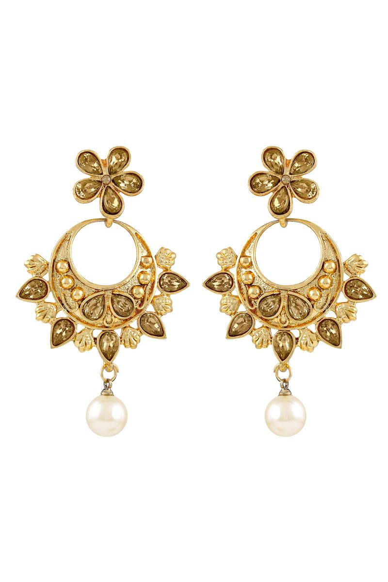 Classy Flower Design Golden Plated Dangler Earrings For Women