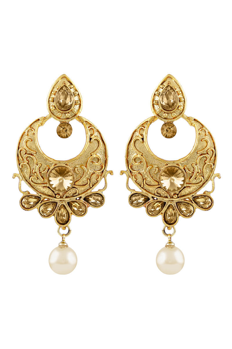 Golden Plated Chandbali Earrings For Women