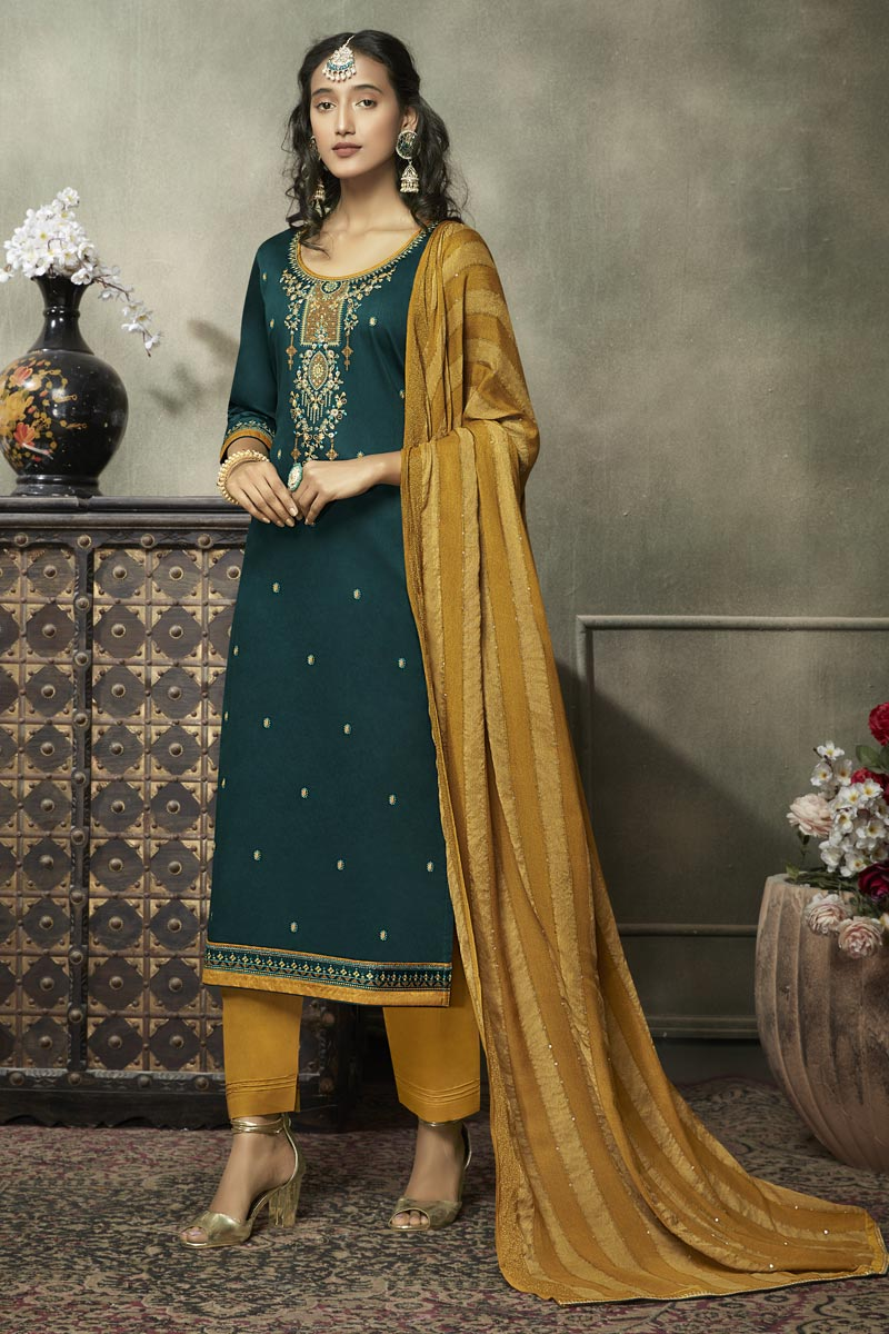 Elegant Cotton Silk Fabric Festive Wear Embroidered Teal Color Straight Cut Suit