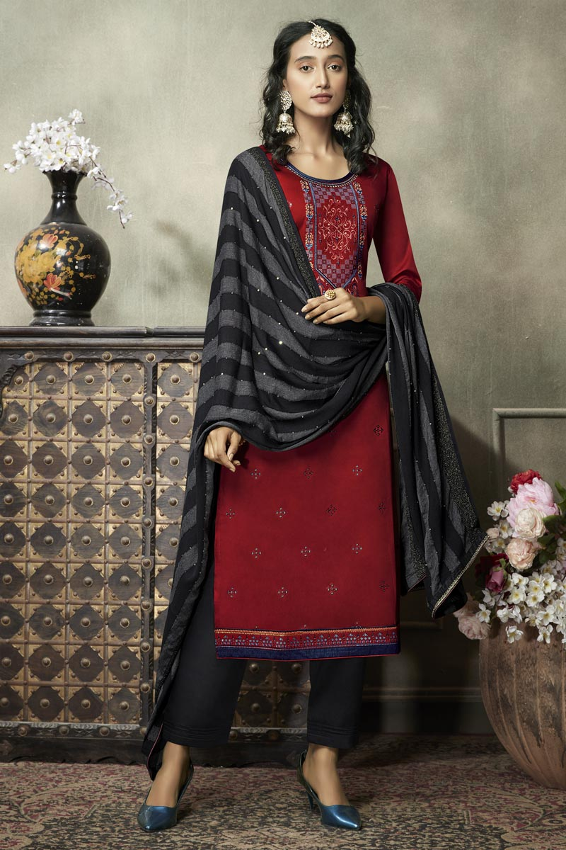 Festive Wear Red Color Elegant Embroidered Straight Cut Dress In Cotton Silk Fabric