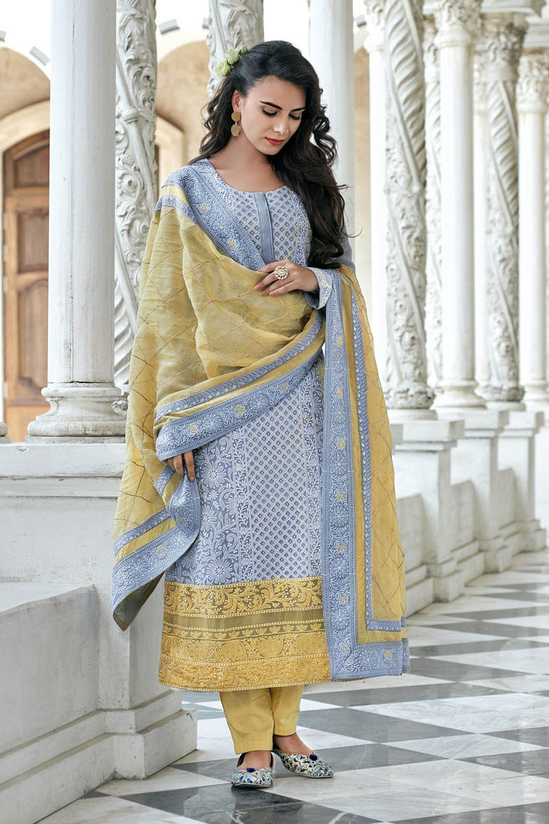 Georgette Fabric Party Wear Readymade Straight Cut Salwar Suit In Blue Color With Embroidery Work