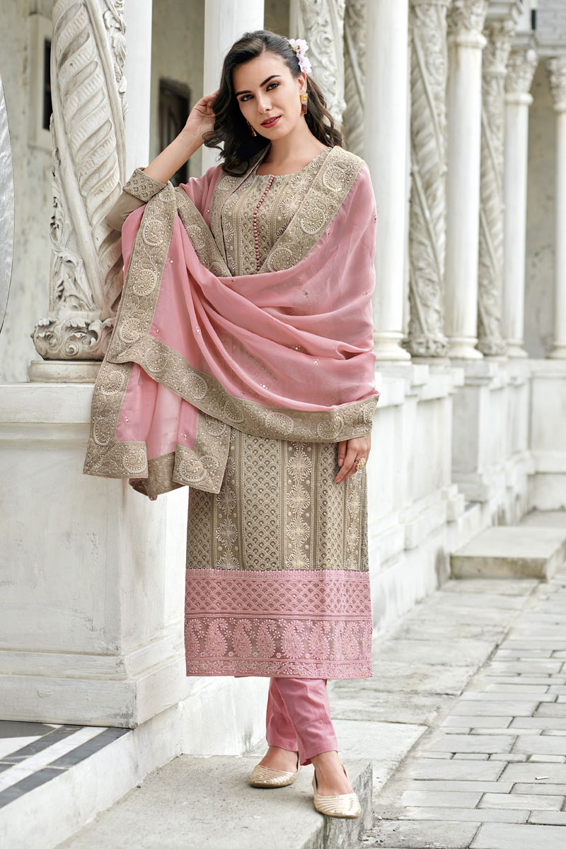 Beige Color Georgette Fabric Function Wear Embroidered Readymade Straight Cut Suit