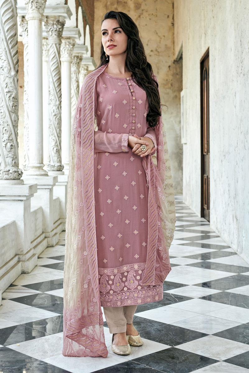 Occasion Wear Pink Color Embroidered Readymade Straight Cut Salwar Kameez In Georgette Fabric