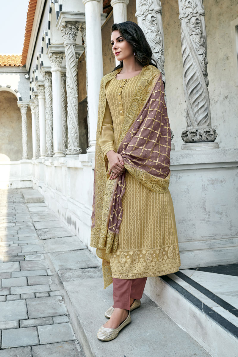 Embroidery Work On Cream Color Georgette Fabric Wedding Wear Readymade Straight Cut Salwar Suit