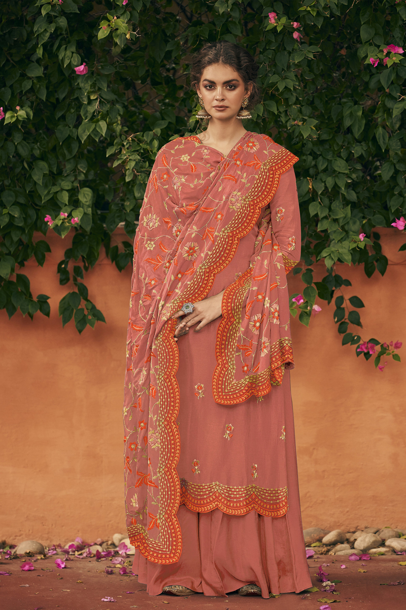 Art Silk Fabric Party Wear Palazzo Salwar Suit In Salmon Color With Embroidery Work