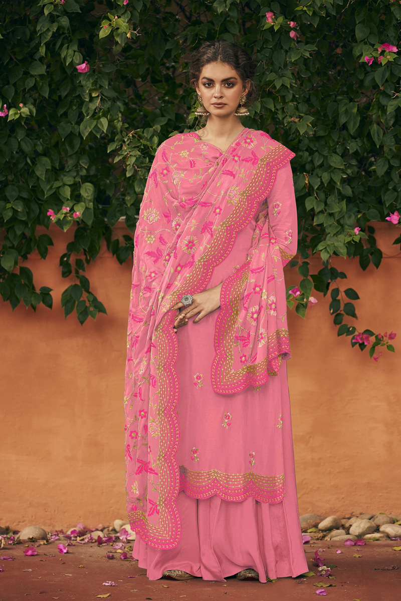 Pink Color Art Silk Fabric Function Wear Embroidered Palazzo Suit