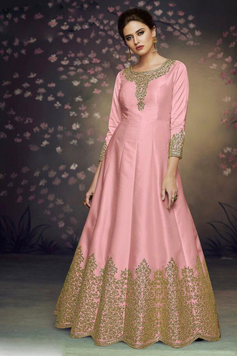 Art Silk Fabric Wedding Wear Anarkali Salwar Suit In Peach Color