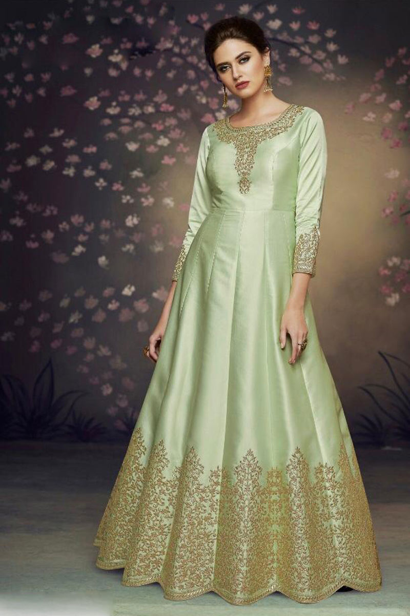 Sea Green Color Art Silk Fabric Function Wear Embroidered Anarkali Suit