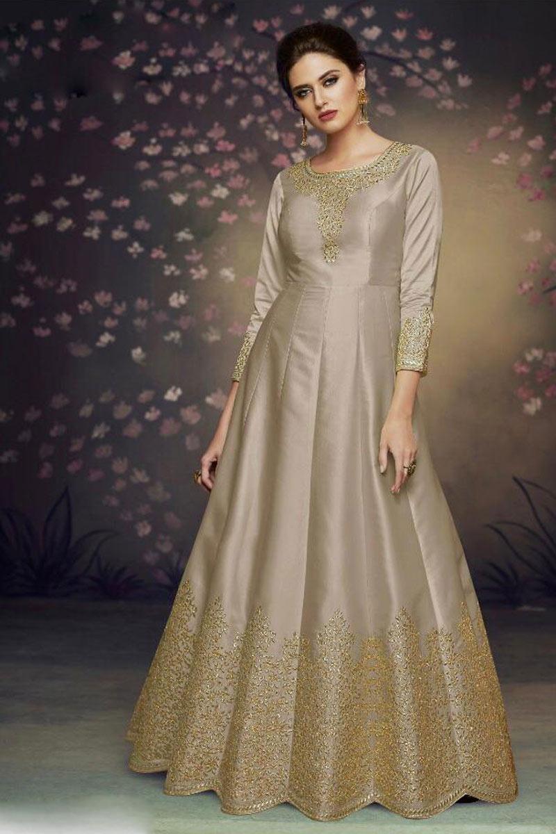 Occasion Wear Chikoo Color Embroidered Anarkali Salwar Kameez In Art Silk Fabric