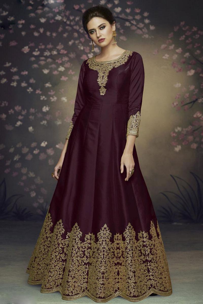 Wine Color Embroidered Art Silk Fabric Party Wear Anarkali Salwar Kameez