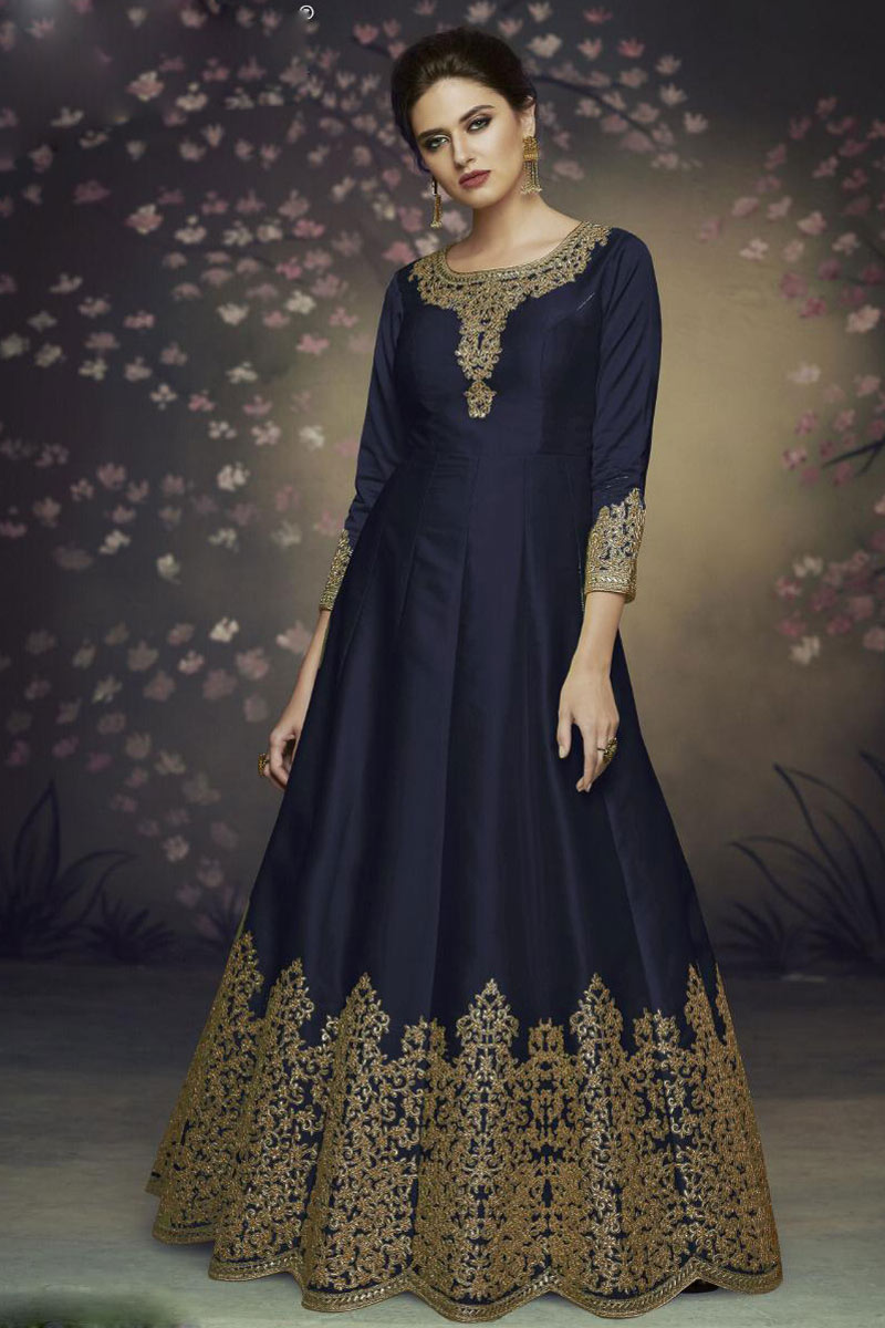 Embroidered Art Silk Fabric Navy Blue Color Function Wear Anarkali Suit