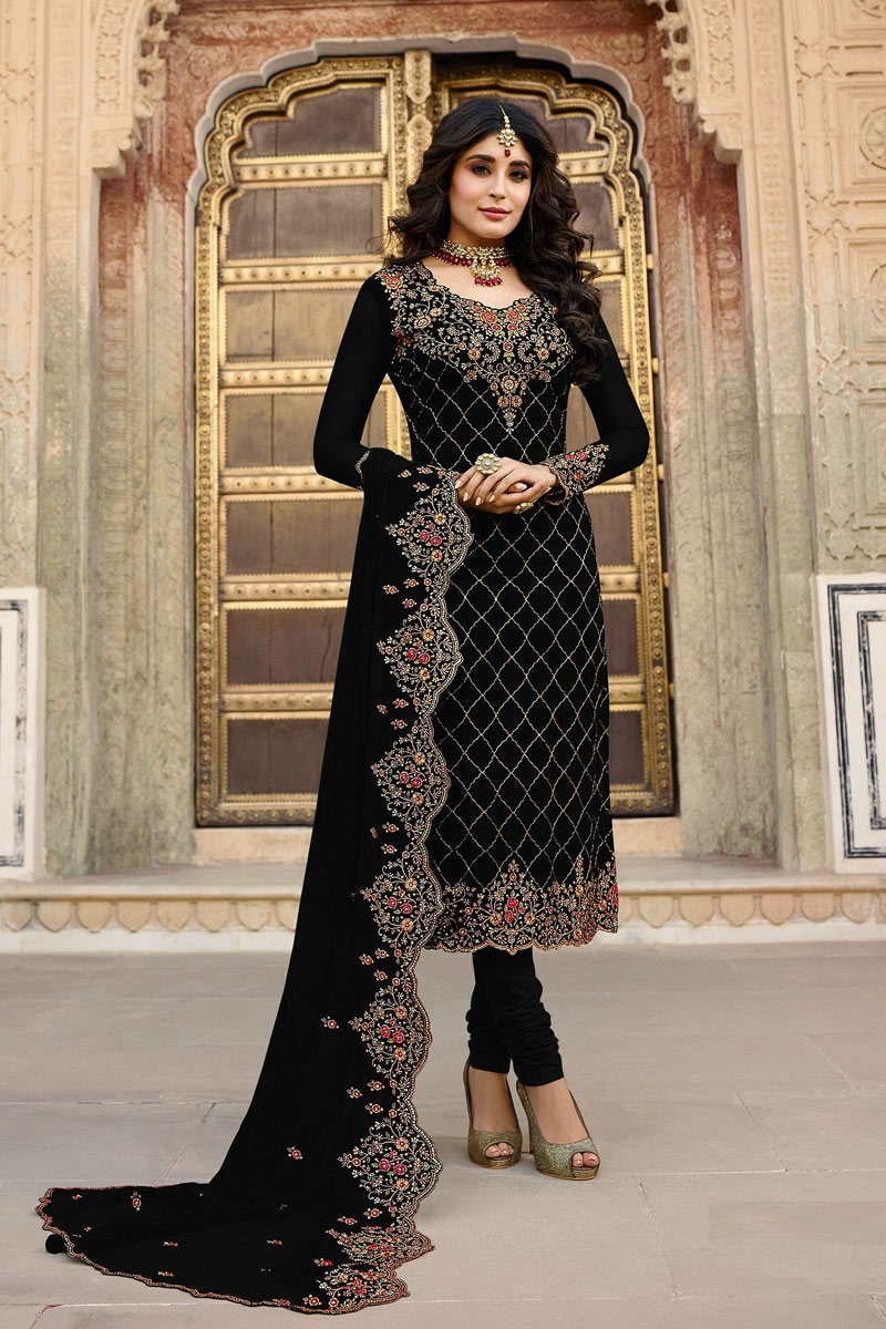 Kritika Kamra Occasion Wear Black Color Embroidered Salwar Kameez In Georgette Fabric