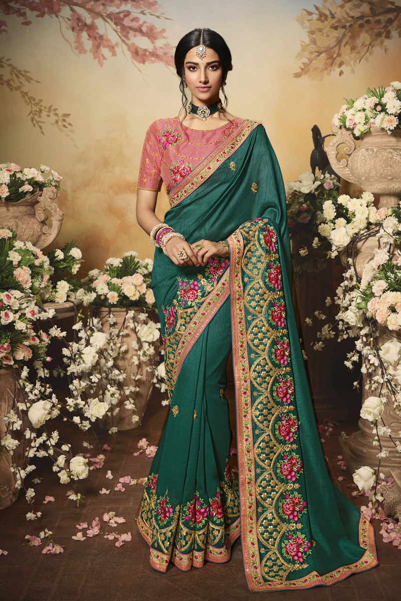 Festive Special Teal Color Designer Saree In Art Silk Fabric
